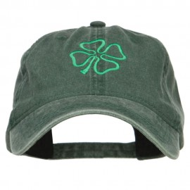 Irish Four Leaf Clover Embroidered Washed Cap