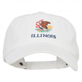Illinois State Flag Embroidered Unstructured Washed Cap