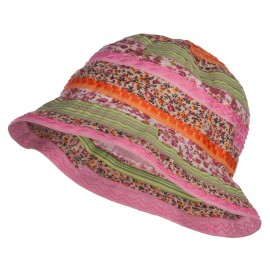 Girl's Calico Striped Bucket Hat - Multi