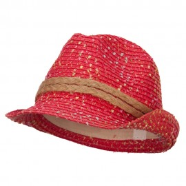 Girl's Multi Fleck Paper Braid Fedora