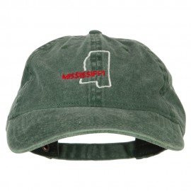 Mississippi with Map Outline Embroidered Washed Cotton Twill Cap