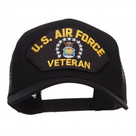 US Air Force Veteran Military Patched Mesh Cap - Black