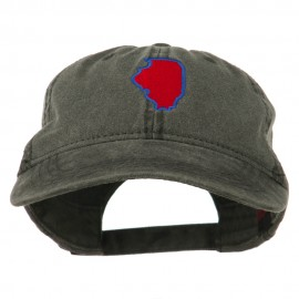 Illinois State Map Embroidered Washed Cotton Cap