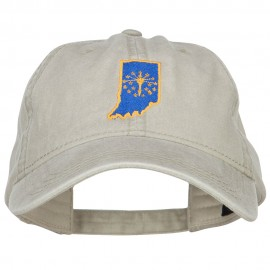 Indiana State Flag Map Embroidered Washed Cap