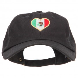 Heart Shape Mexico Flag Embroidered Unstructured Washed Cap