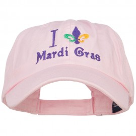 I Love Mardi Gras with Fleur de Lis Embroidered Cotton Cap