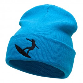 Surfer Girl Silhouette Embroidered Long Beanie
