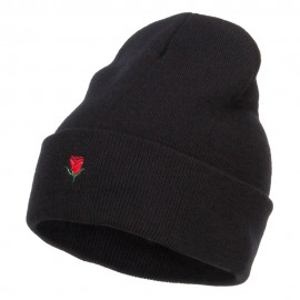Mini Rose Embroidered Long Beanie - Black