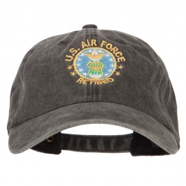 US Air Force Retired Circle Embroidered Washed Cotton Twill Cap