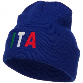 Italy ITA Flag Embroidered Long Beanie