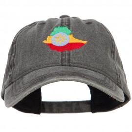 Ethiopia Map Flag Embroidered Washed Cap