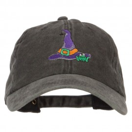 Witch Hat and Frog Embroidered Unstructured Cotton Cap