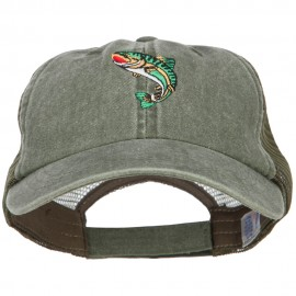 Trout Embroidered Washed Trucker Cap