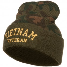 Vietnam Veteran Letters Embroidered Camo Long Beanie
