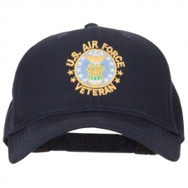 US Air Force Veteran Circle Embroidered Solid Cotton Pro Style Cap