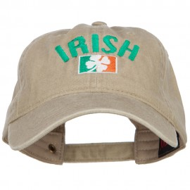 Wording of Irish and Ireland Shamrock Flag Embroidered Washed Cotton Cap