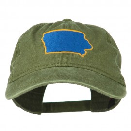 Iowa State Map Embroidered Washed Cap