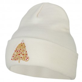 Glitter Merry Christmas Tree Embroidered Long Knitted Beanie