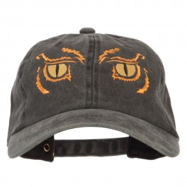Big Yellow Eyes Embroidered Unstructured Cotton Cap