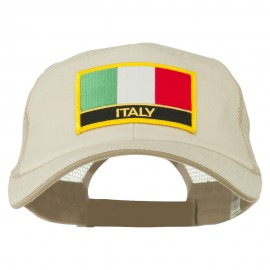 Italy Flag Embroidered Patched Big Size Washed Mesh Cap