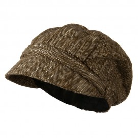 Jimi-Wool Blend Cabbie With Button Band Detail - Brown Tweed