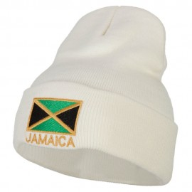 Jamaica Flag with Letters Embroidered Long Knitted Beanie