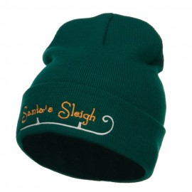 Santa's Sleigh Embroidered Long Beanie