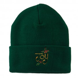 Joy with Mistletoe Embroidered Long Beanie