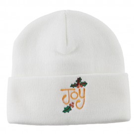 Joy with Mistletoe Embroidered Long Beanie - White