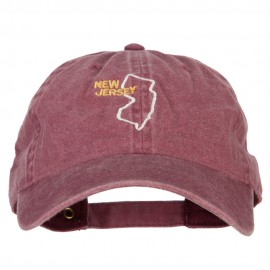 New Jersey with Map Outline Embroidered Washed Cotton Twill Cap