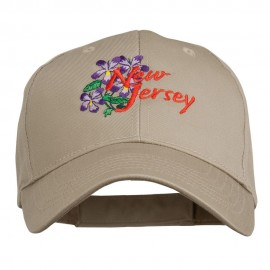 US State New Jersey Violet Flower Embroidered Cap