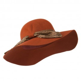 Wool Felt Wide Brim with Big Sequin Bow Hat - Pecan