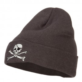 Jolly Roger Skull Embroidered Big Size Long Beanie
