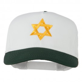 Jewish Star Embroidered Pigment Dyed Cap - Dk Green White