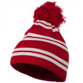 Jacquard White Stripe Knit Beanie with Pom