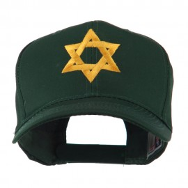 Jewish Star of David Embroidered Cap - Green