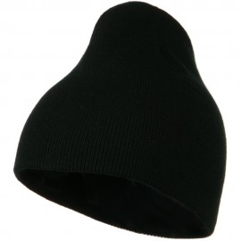 8 Inch Knitted Short Beanie - Black