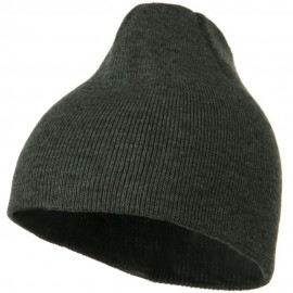8 Inch Knitted Short Beanie - Dark Grey