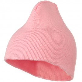 8 Inch Knitted Short Beanie - Pink