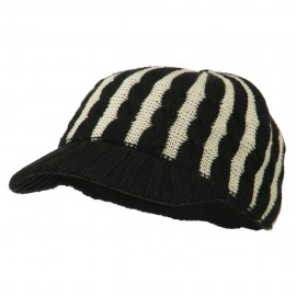 Two Tone Cable Knit Military Cap - Black Ivory