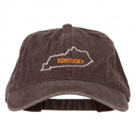 Kentucky with Map Outline Embroidered Washed Cotton Cap