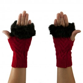 Knitted Fur Cuff Arm Warmer - Red
