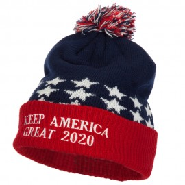 Keep America Great 2020 Letters Embroidered USA Flag Cuffed Pom Long Beanie