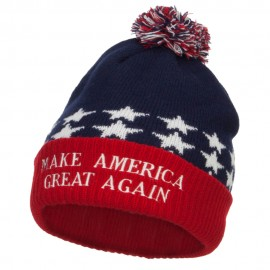 Make America Great Again Embroidered USA Beanie - Red Blue