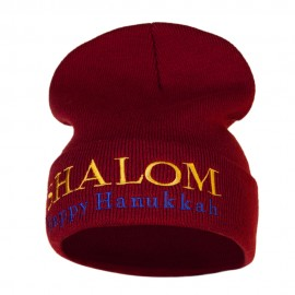 Shalom Happy Hanukkah Embroidered Long Knitted Beanie