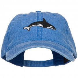Killer Whale Embroidered Washed Cotton Cap