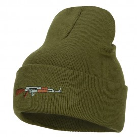 AK-47 Rifle Embroidered Long Knitted Beanie