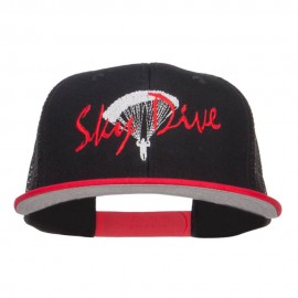 Sky Dive Embroidered Snapback Mesh Cap - Black Red