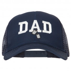 Dad with Military Dog Tags Embroidered Solid Cotton Mesh Pro Cap