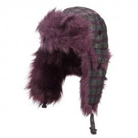 Plaid Nylon Faux Fur Trooper Hat